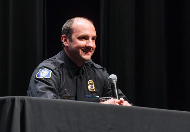 """Lt. Nick Cook participates in a public """"Conversation with the Candidates"""" as finalists for Sioux Falls Chief of Police on Monday, June 14, 2021, at the Washington Pavilion in Sioux Falls."""