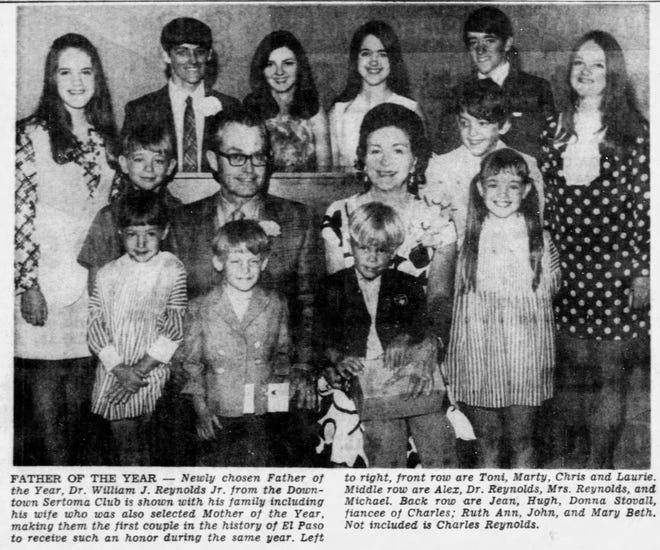 06/1970 The William J. Reynolds family. Left to right, front row are Toni, Marty, Chris and Laurie. Middle row are Alex, Dr. Reynolds, Mrs. Reynolds, and Michael. back row are Jean, Hugh, Donna Stovall, fiancé of Charles; Ruth Ann, John, and Mary Beth. Not included is Charles Reynolds.