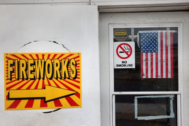 Fireworks are offered for sale at Uncle Sam's Fireworks on May 27, 2021 in Hammond, Indiana. (Scott Olson/Getty Images/TNS)