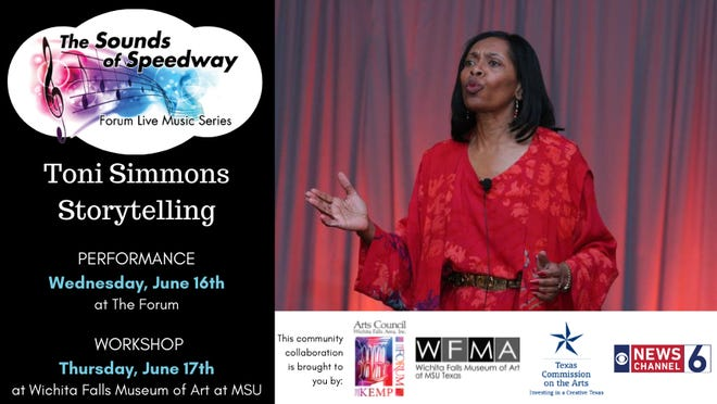 Toni Simmons is featured for a storytelling performance this Wednesday at The Forum. There is also a workshop for aspiring storytellers.