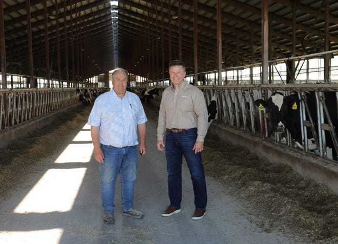 """Jim Winn and Greg Siegenthaler, pictured at Cottonwood Dairy in Lafayette County, are members of the group honored with the """"Outstanding Supply Chain Collaboration"""" award."""