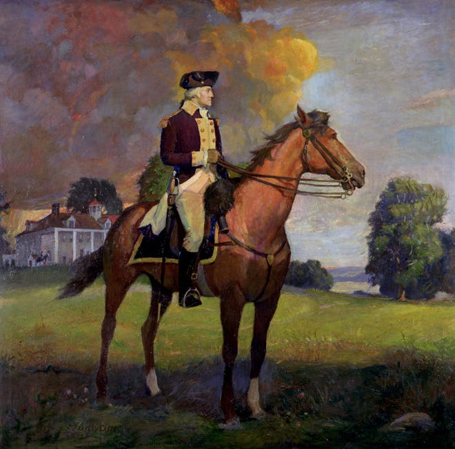 A painting of George Washington circa 1925 on exhibit in 1998 at the Virginia Historical Society in Richmond.