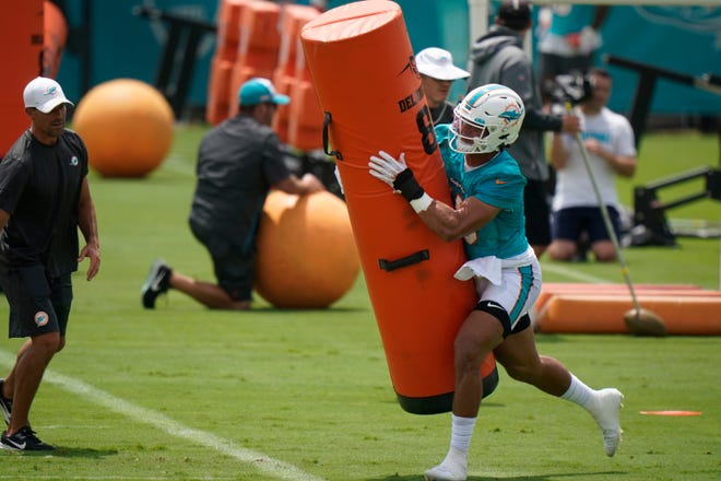 Miami Dolphins linebacker Jaelan Phillips runs drills during a mandatory minicamp at the NFL football team's training camp, Tuesday, June 15, 2021, in Davie, Fla.