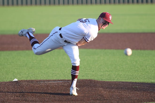 Dripping Springs' Cameron O'Banan, delivering a pitch against Georgetown during a playoff game in May, is the American-Statesman's 2021 Central Texas Baseball Player of the Year.