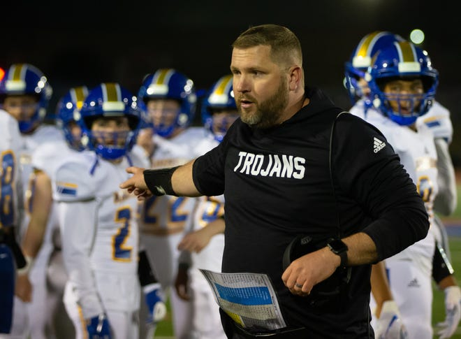 Anderson head coach Daniel Hunter, giving instructions during a game against Westlake in 2019, has resigned after three seasons.