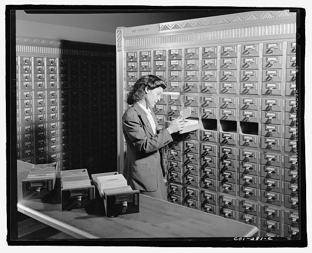Libraries' card catalogs of the 20th century have been replaced with an online computer catalog, thereby exponentially increasing the range of materials users can access.