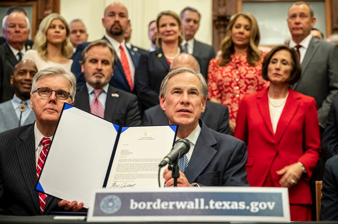 """Gov. Greg Abbott speaks during a press conference on Wednesday, June 16, 2021, on details of his plan for Texas to build a border wall and provide $250 million in state funds as a """"down payment."""""""