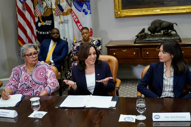 Vice President Kamala Harris, center, flanked by Texas state Rep. Senfronia Thompson, D-Houston, left, and Texas state Rep. Gina Hinojosa, D-Austin, right, speaks during a meeting with members of the Texas State Senate and Texas House of Representatives in the Roosevelt Room of the White House in Washington, Wednesday, June 16, 2021. Member of the Texas delegation in May blocked passage of legislation that would have made it significantly harder for the people of Texas to vote.