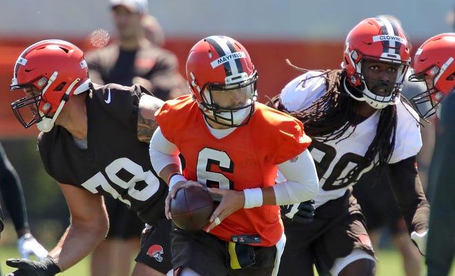 Fans will be able to watch quarterback Baker Mayfield and the rest of the Browns at training camp beginning July 30. [Jeff Lange/Beacon Journal]