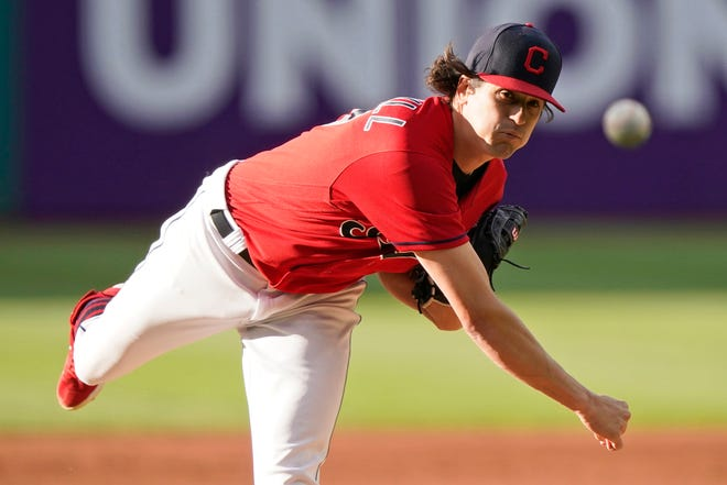 Cleveland starting pitcher Cal Quantrill delivers in the first inning against Baltimore, Tuesday, June 15, 2021, in Cleveland. (AP Photo/Tony Dejak)