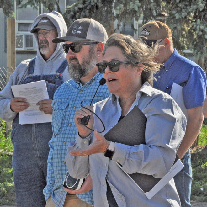 Laura Pottorff, the new director of seed programs for Colorado State University, introduces herself on a windy morning at CSU's wheat variety trial on the west side of Burlington. She took over the position following Rick Novak's retirement.