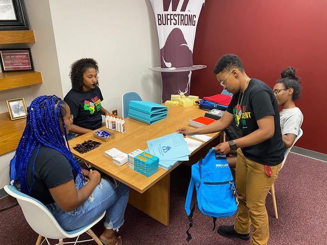 Black Student Union members at West Texas A&M University are hosting a backpack drive, hoping to fill 100 satchels with school supplies, including pens, pencils, notecards, binders, sticky notes and more.