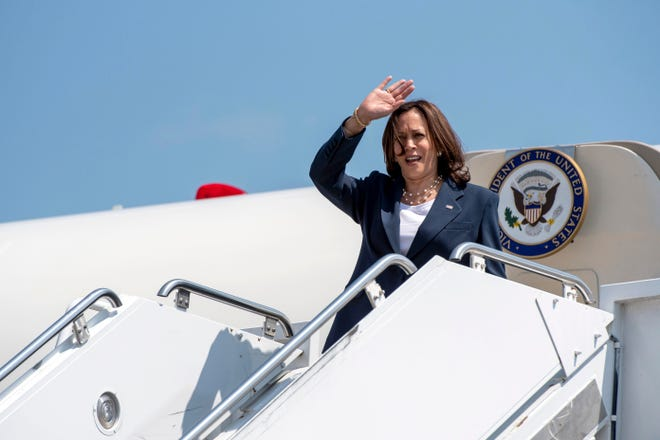 Vice President Kamala Harris arrives at Greenville-Spartanburg International Airport in S.C., on Monday, June 14, 2021.
