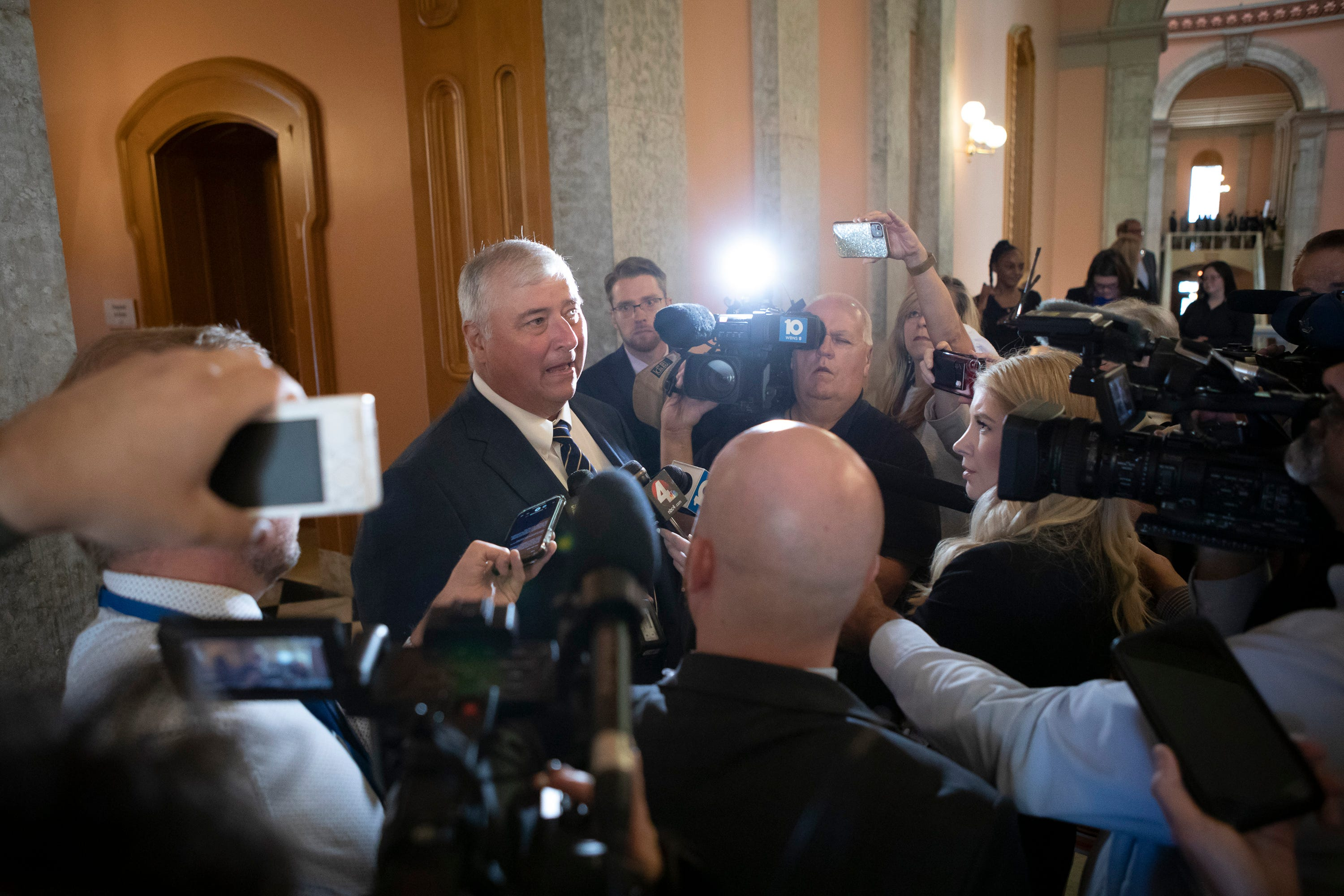 Larry Householder talks to reporters after being expelled as a representative in the Ohio House at the Ohio Statehouse in Columbus on Wednesday, June 16, 2021.