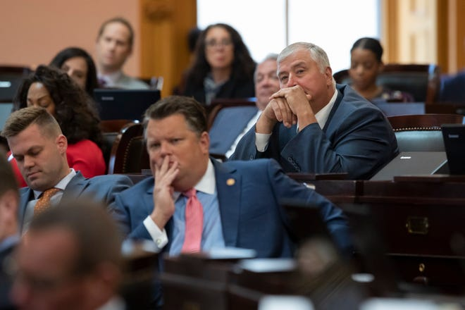 Rep. Larry Householder listens to arguments on a resolution to expel him from the Ohio House at the Ohio Statehouse in Columbus on Wednesday, June 16, 2021.