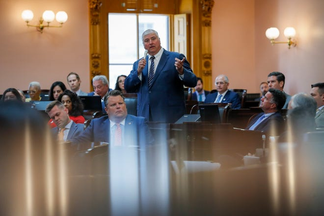 Rep. Larry Householder defends himself against a resolution for his expulsion during a session of the Ohio House at the Ohio Statehouse in Columbus on Wednesday, June 16, 2021.
