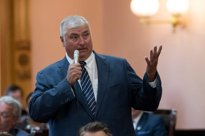 Rep. Larry Householder defends himself against a resolution for his expulsion during a session of the Ohio House at the Ohio Statehouse in Columbus on Wednesday, June 16, 2021. House lawmakers passed a resolution to expel him from the chamber in a 75-21 vote that afternoon.
