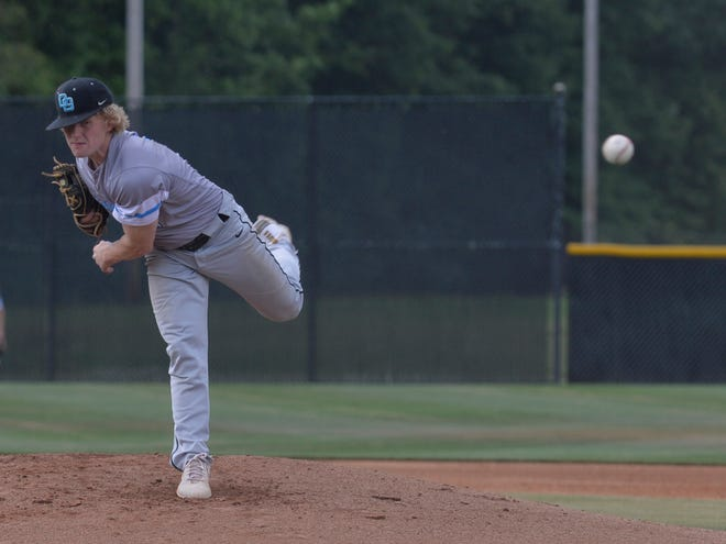 Oak Grove pitcher Brady Turner and the Grizzlies will host South Rowan in the second round of the 2-A state playoffs on Thursday. [Mike Duprez/The Dispatch]