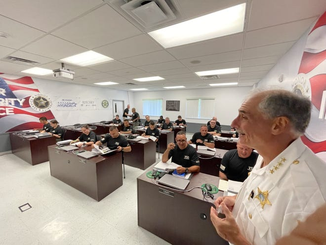 Volusia County Sheriff Mike Chitwood visits 21 deputy recruits, the first class of the new Volusia Sheriff's Office Training Academy that opened on Wednesday. The training school is at 3901 Tiger Bay Road near Daytona Beach. June 16, 2021.