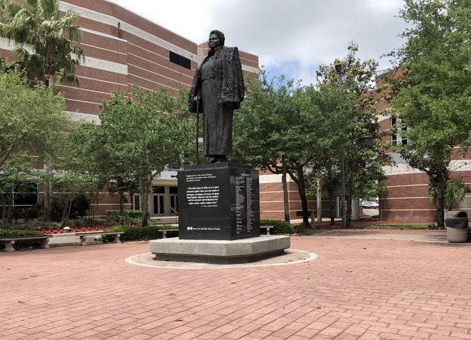 """A statue on the campus of Bethune-Cookman University in Daytona Beach depicts the school's founder, Mary McLeod Bethune, and quotes her from her 1954 visit to a rose garden in Bern, Switzerland: """"This shall always be before me as a great interracial garden where men and women of all tongues, all nations, all creeds, all classes blend together helping to send out sunshine and love and peace and brotherhood that makes a better world in which to live."""""""