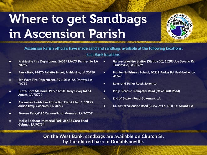 Ascension Parish Government announces sandbag locations.