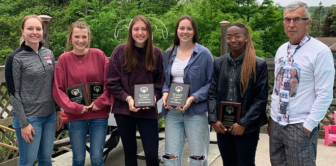 Honesdale's girls basketball program recently closed the book on an unusual 2020-21 campaign. The Lady Hornets struggled to post wins in Lackawanna League action, but laid the foundation for a successful future. Pictured here are this year's award winners (from left): Coach Natasha Hessling, Katie Ludwig, Elyse Montgomery, Grace Maxson, Ciara Young, Coach Ron Rowe. Not shown: Rowan Murray and Claire Campen.