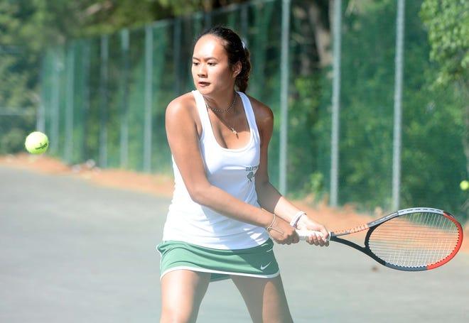 Dartmouth No. 1 singles player Jaffa Heryudono, during a match versus Bridgewater-Raynham on Wednesday.