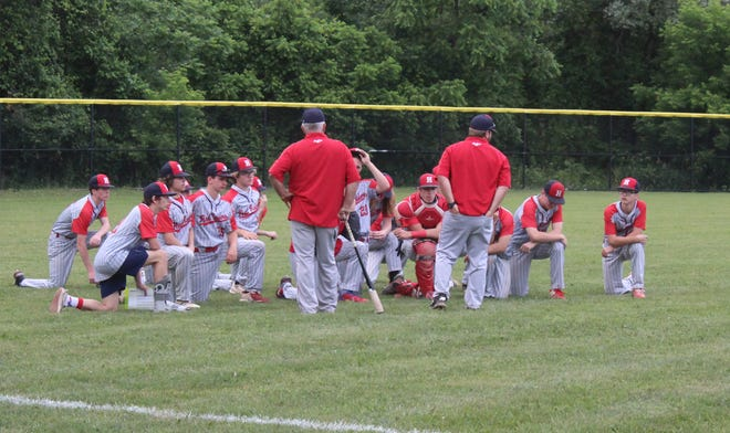 Hornell head coach Jake Kenney talks to his team one final time in the 2021 season on Tuesday evening in Pal-Mac following the Section V Class B1 Championship game.