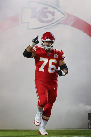 Kansas City Chiefs guard Laurent Duvernay-Tardif (76) takes the field before a game against the Indianapolis Colts at Arrowhead Stadium. Duvernay-Tardif, a medical doctor, returned to the Chiefs this week after opting out of last season to help with the battle against the COVID-19 pandemic.