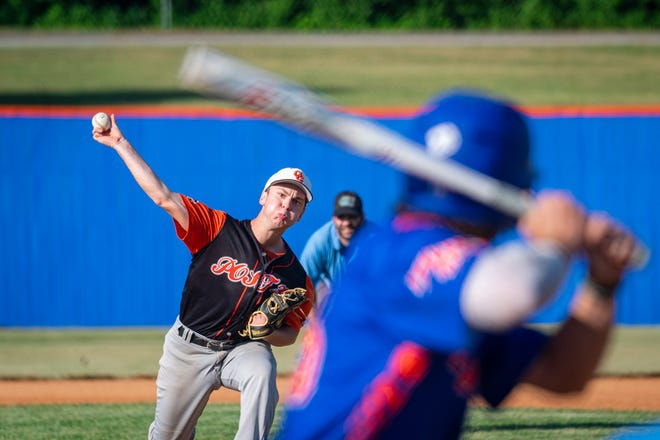 Oak Grove pitcher Connor Hernandez throws to a Blue Springs Post 499 Fike batter in the first game of an American Legion baseball doubleheader Tuesday at Hidden Valley Park. Hernandez threw a five-inning two-hitter in a 13-0 Oak Grove win.