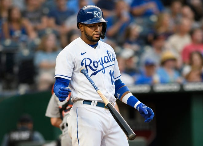 Kansas City Royals' Kelvin Gutierrez tosses his bat after striking out against the Detroit Tigers during the third inning of Tuesday's game at Kauffman Stadium. The Royals lost 4-3, their fifth straight defeat and 10th in 11 games.