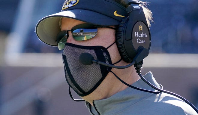 Missouri head coach Eli Drinkwitz watches play from the sidelines during the game against Vanderbilt last season. Drinkwitz has made a big impact in recruiting since the NCAA lifted its lengthy dead period on June 1.