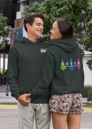 Dover 400th anniversary sweatshirts are among the merchandise available for sale to support the city's anniversary celebration in 2023.