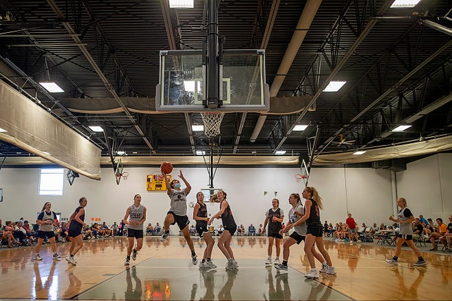 Galesburg sophomore Alexis Edgerson shoots a layup during the Silver Streaks' game with Brimfield in GHS Summer League action on Tuesday, June 15, 2021 at the fieldhouse.