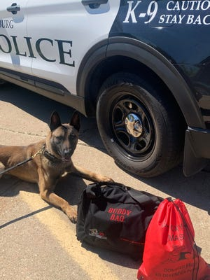 """K-9 Defender Fund recently donated a """"Buddy Bag"""" for Galesburg Police Department K-9 Dax, which is filled with medical equipment he would need to receive routine or emergency medical treatment in the field. K-9 Defender Fund also donated a pet oxygen mask.  """"Protection4Paws"""" donated a supply of NARCAN for K-9 Dax."""