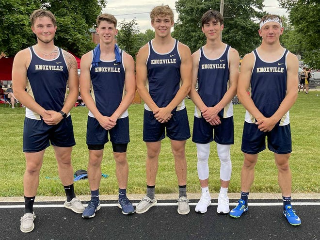Knoxville High School boys track team members headed to the IHSA state finals are, from left; Jonas Shragal, Ryan Sunderland, Craig Putnam, Isaac Nolan and Lane Grice.
