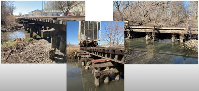 These photos show the three railroad crossings over Cow Creek south of Avenue G that city officials would like to remove or replace to improve drainage of Cow Creek upstream. The crossing pictured on the left is the only one that's active.