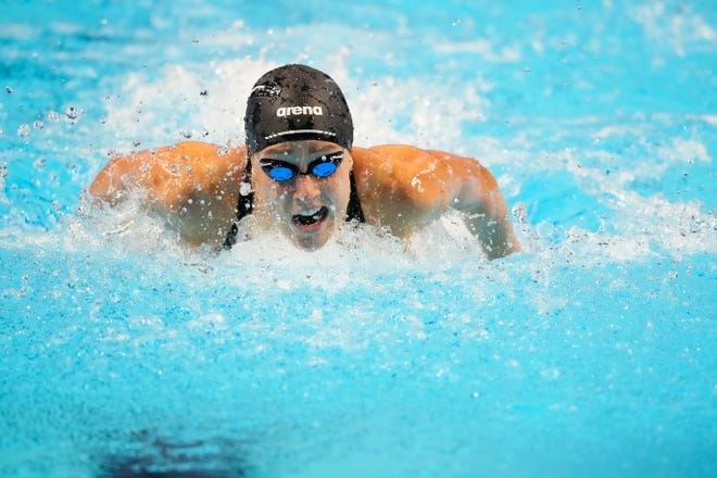 Madisyn Cox swims in the 200 individual medley semifinals during the U.S. Olympic Team Trials at CHI Health Center on Tuesday.