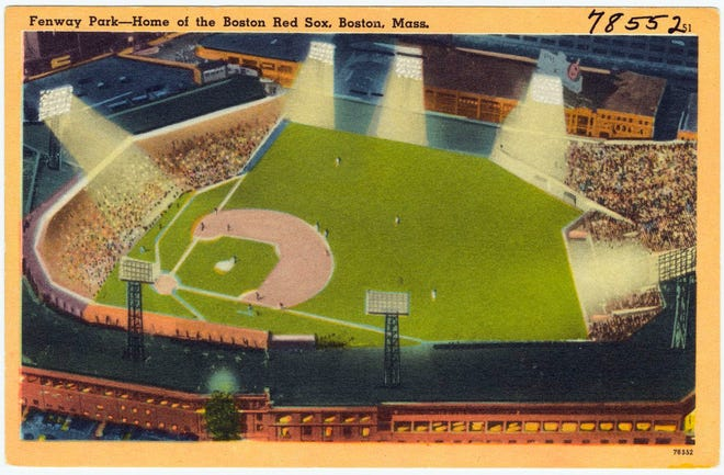 This is a post card of Fenway Park from sometime between 1930 and 1945. Learn more at www.digitalcommonwealth.org.