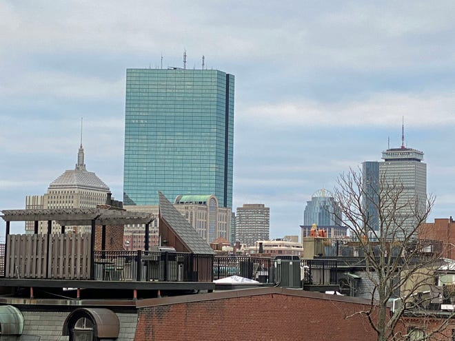 Here's the view of the Boston skyline as seen from the penthouse at 5 Joy Street.