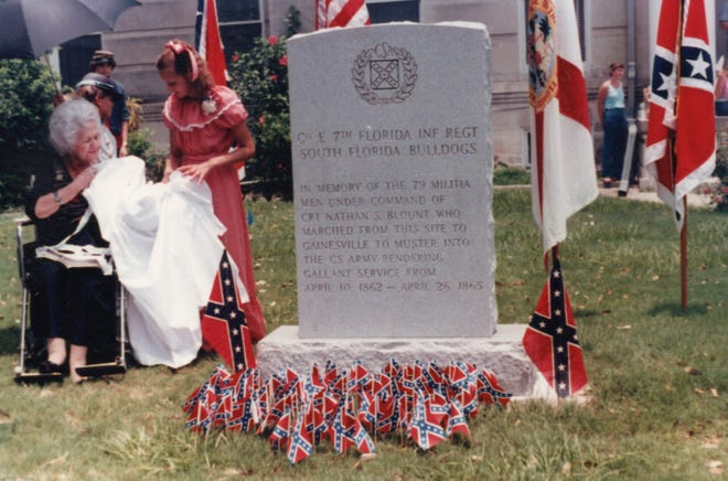 Maggie Macaulay's grandmother unveils the Confederate Memorial in downtown Bartow on the eve of Independence Day, 1982. Today, 39 years later, Macaulay is among the many who are calling for the marker's removal.