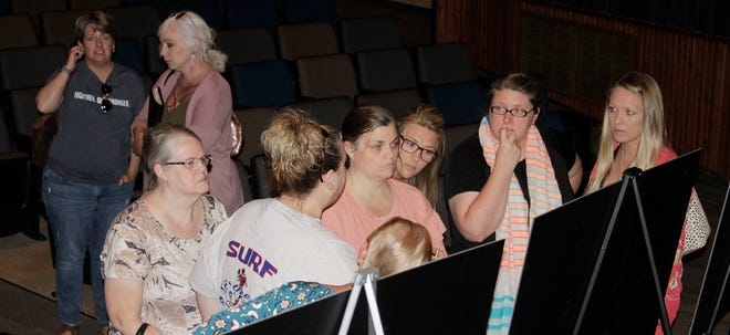 Moberly school district personnel gather at a projected floor plan drawing to share ideas for a newly constructed alternative school during a Tuesday, June 15 public forum on the subject held at the high school auditorium.