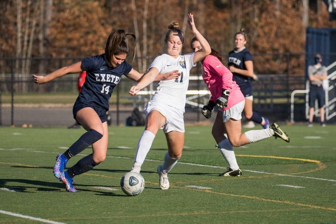 Ella Fraser, left, scored 45 goals and had 29 assists, leading the Exeter High School girls soccer team to the past two Division I state championships. Fraser, who will play at Murray State University, received the Gatorade New Hampshire High School Girls Soccer Player of the Year on Tuesday.