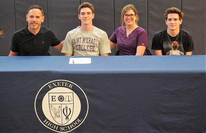 Exeter High School senior Drew Richard, second from left, will play men's soccer next year at St. Michael's College in Colchester, Vermont. The Stratham resident, who plans to major in business, is seated with his father, Andy; his mother, Pam; and his brother, Owen.