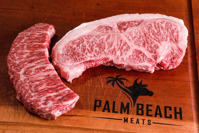 An Australian wagyu Denver steak (at left) and a Japanese A5 wagyu offered at Palm Beach Meats, a premium meat and gourmet market and pop-up space located at 4812 S. Dixie Hwy. in West Palm Beach.