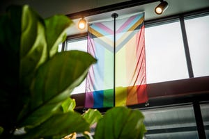 The Progress Pride flag hangs above the door at Stingray Botanicals. The widely known rainbow is a symbol for lesbian, gay, bisexual and transgender and was amended with the chevron to be more inclusive of people of color (black and brown stripes) and trans people (white, pink and blue stripes).