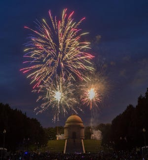 Fireworks at the McKinley National Memorial in 2019.