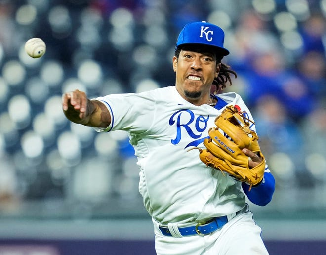 Kansas City Royals shortstop Adalberto Mondesi (27) throws to first base against the Pittsburgh Pirates during a May 31 game at Kauffman Stadium. The Royals reinstated Mondesi from the injured list Tuesday.