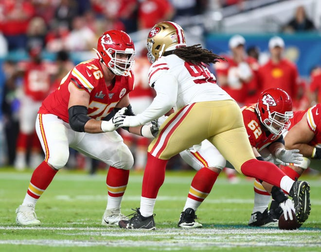 Kansas City Chiefs offensive guard Laurent Duvernay-Tardif (76) is eager to rejoin the team this year after sitting out the 2020 season.