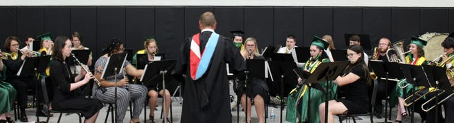 The Cloverdale High School band performs at the ceremony.